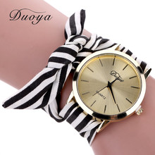 New design 2016 Hot Sale Fashion Women's Flower Star Bow Wristwatch Scarf Band Party Casual Straipe Watch Sep07(China (Mainland))