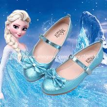 Hot Sale! Velcro Strap Sparkle Glitter Kids Girls Blue Ballet Flats Party Snow Queen Princess Elsa Dress Shoes Plus size 26-36(China (Mainland))