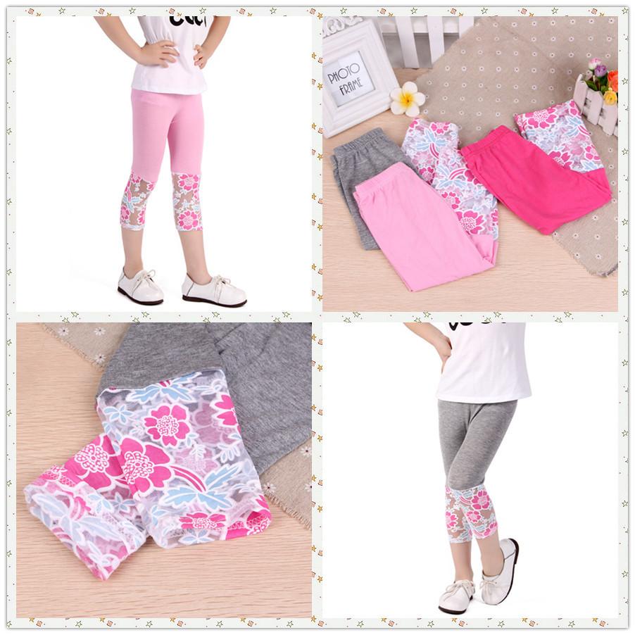 Hot Sale! Baby Girl Legging Pants Flower Lace Kawaii children pants kids Anti mosquito Full Leg trousers cartoon 1pcs Wholesale(China (Mainland))