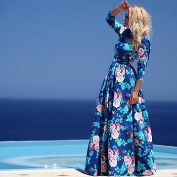 2015 новое поступление женщин платье полная длина полный рукавом печать о-образным вырезом сексуальный свободного покроя симпатичные чешские макси летнее платье