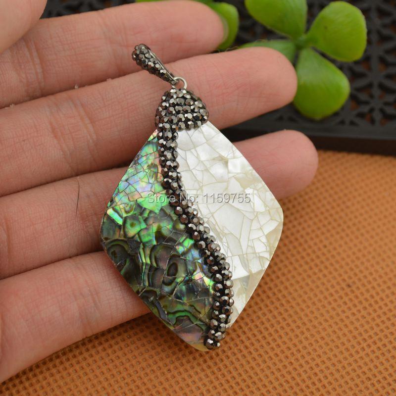 5Pcs Natural White Shell & Abalone Shell Pendants,  with Crystal Rhinestone Paved Pendants Necklace Pendants Druzy Gems Jewelry