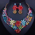 2016 Luxurious Crystal Wedding jewelry sets New fashion Rhinestone Necklace set for Women African beads Jewelry
