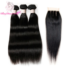 8A Malaysian Straight Hair With Closure 3 Bundles With Closures Cheap Human Hair With Closure Piece Straight HC Mocha Hair Weave(China (Mainland))