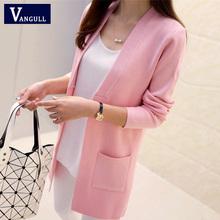Nova alta qualidade mulheres primavera outono médio – longo Cardigan 2016 nova fêmea elegante bolso de malha Outerwear camisola capa superior