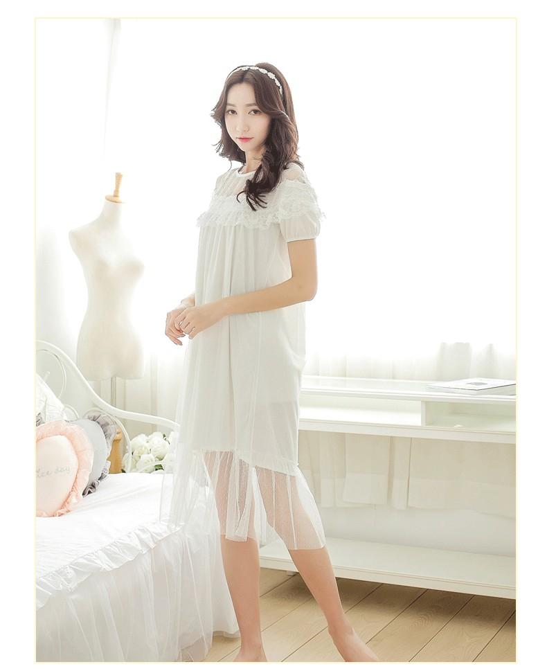 New autumn 2017 Lingerie Wholesale Korean princess nightgown lace ladies short sleeve nightwear Lingerie sleep dress w1231