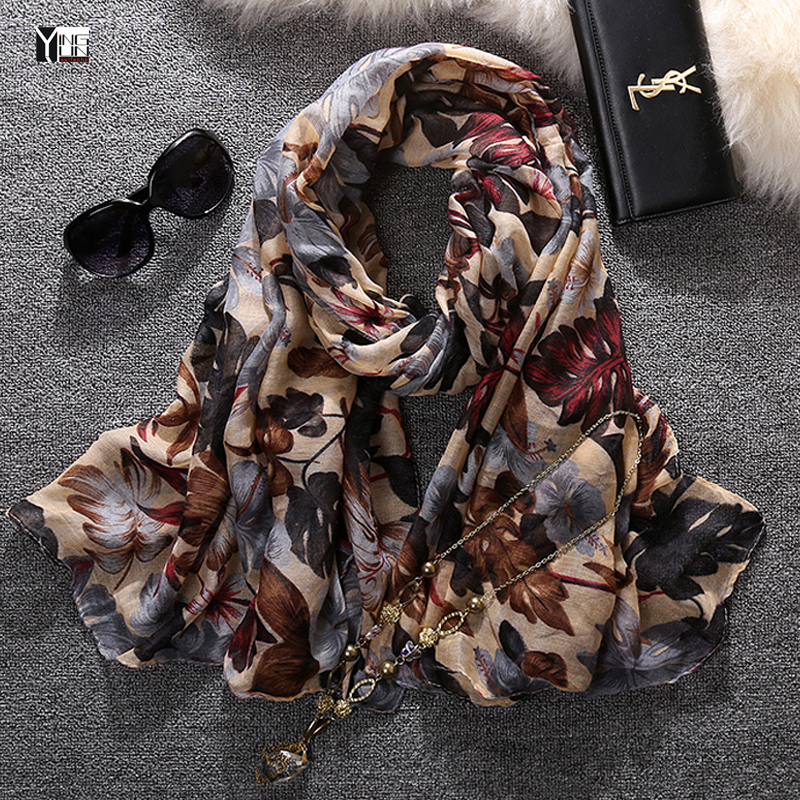 2016 new style fashion hot sale leaves print voile woman scarf long square sun protection shawl ladies women wrap free shipping(China (Mainland))