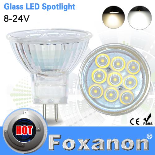 Foxanon Brand MR16 DC 8-24V Led Spotlight 2835 SMD 9Leds 12V Glass Body 120 degree Lens Lamp 3W Spot Light Led Bulb lighting(China (Mainland))