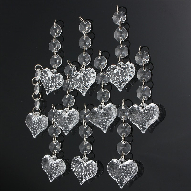 10pcs Acrylic Crystal Beads Garland Chandelier Hanging Heart Shape Clear Chandelier Crystal Beads For Wedding Party Home Decor(China (Mainland))