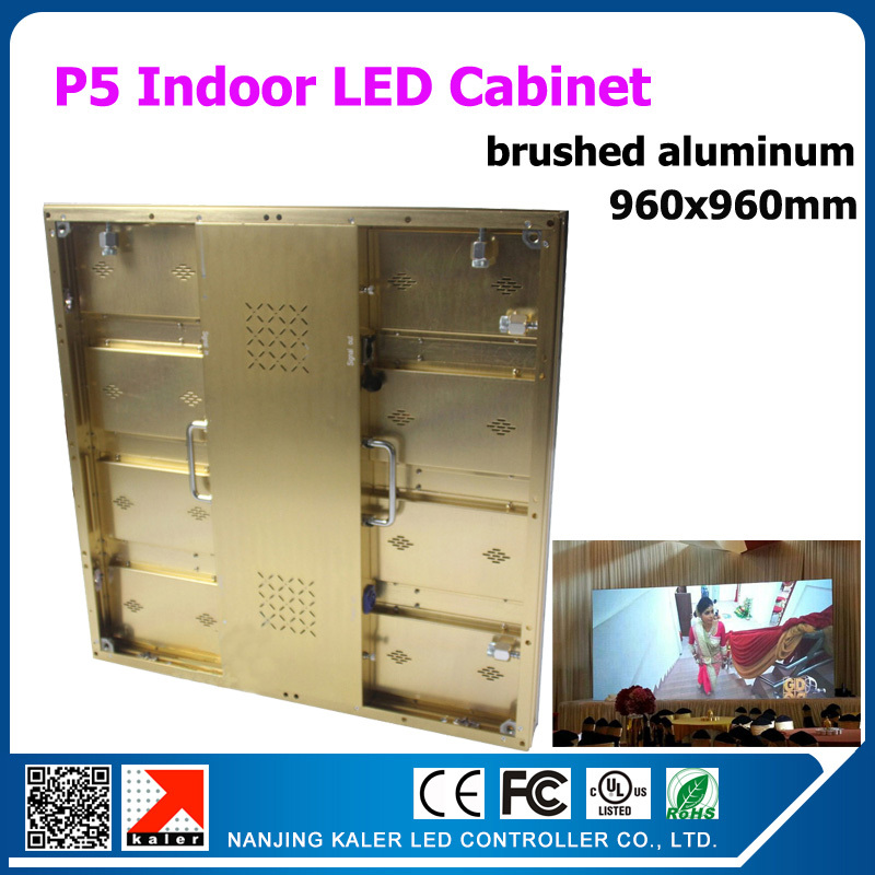 0.96mx 0.96m led display cabinet p5 golden aluminum led screen board rental indoor led video wall movable advertising billboard(China (Mainland))