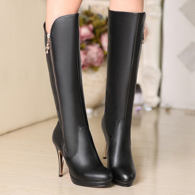 Large size boots size US 3-10 New Black Sexy Genuine leather Over the Knee thin Heels Boots round Toe for women shoes DX192<br><br>Aliexpress