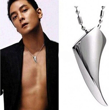 Fashion Men's Necklace 316L Stainless Steel Wolf Tooth Necklace Animal Pendant Necklaces 316L Stainless Steel Jewelry MX001(China (Mainland))