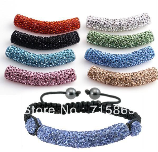 Free Ship 10pcs/lot DIY Beads, Shamballa Long Tube Beads Meaning Crystal Rhinestone Pave Bending rhinestone charms Multi Color(China (Mainland))
