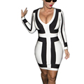 S 3XL Plus Size 2016 new sexy women deep V neck Long sleeve bandage dress white
