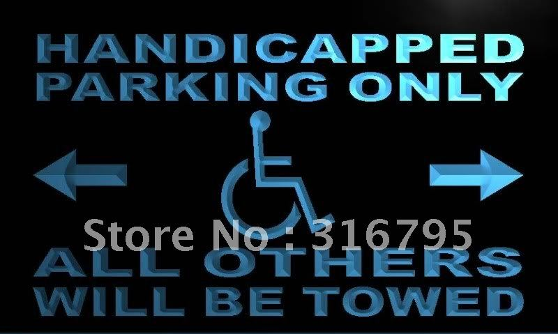 m354-b Handicapped Parking Only LED Neon Light Sign On/Off Switch 7 Colors(China (Mainland))