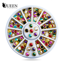 Hot Sale Colorful Half Round Nail Pearls with Metal Studs Rhinestones Wheel Nail Decoration Supplies