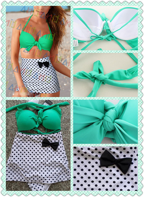 New Women Plus Size High Waist Bikini Swimsuit Summer Style Halter Dot Bow Design Big Size Push Up Swimwear 3XL 4XL Bikini(China (Mainland))