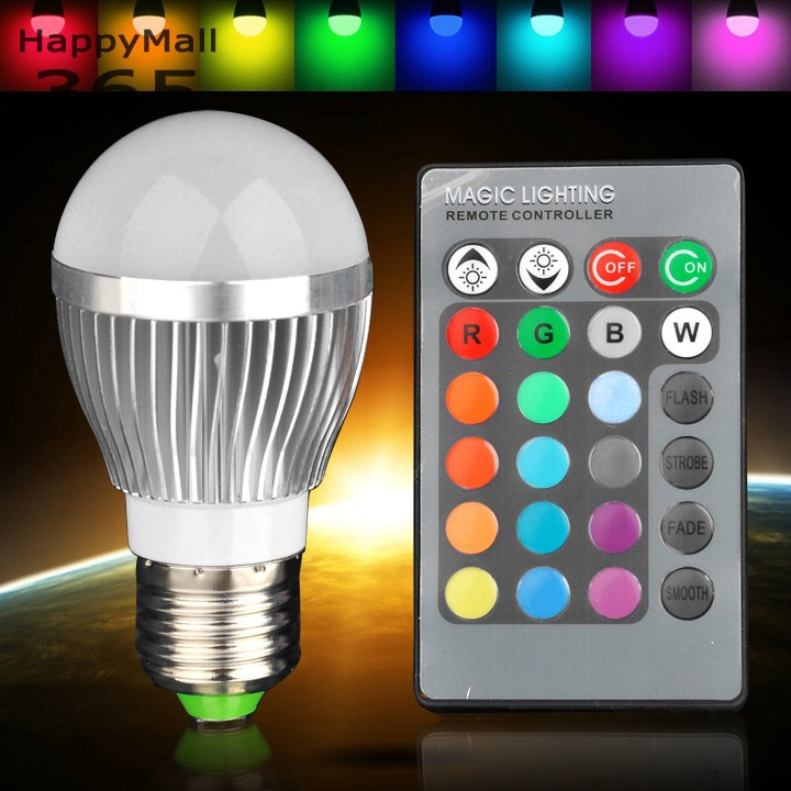 3 w e27 rgb ampoule led 16 changement de couleur lampe ac85 265v projecteurs pour la d coration. Black Bedroom Furniture Sets. Home Design Ideas
