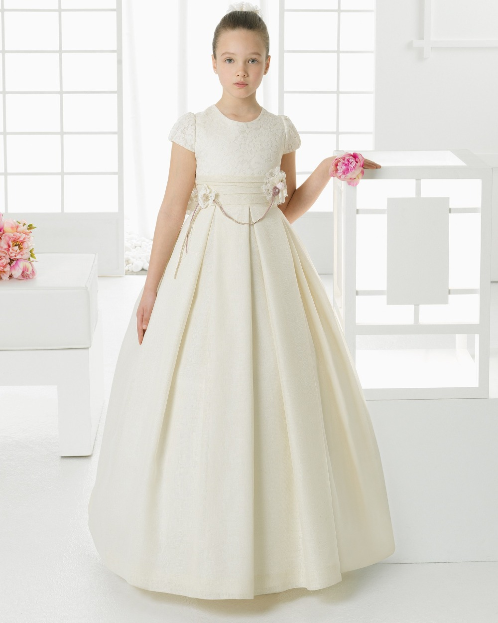 2016 newest first communion dresses for girls satin lace for Girls dresses for a wedding