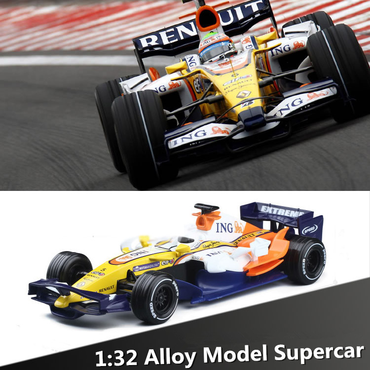 1:32 alloy F1 racing car models, metal casting, sound and light back to power, classic cars toy car, free shipping(China (Mainland))