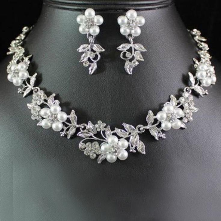 Drop Shipping Hot Selling New Beautiful Rhinestone Simulated Pearl Earrings Set Bridal Necklace Charm Jewelry NL-033701(China (Mainland))