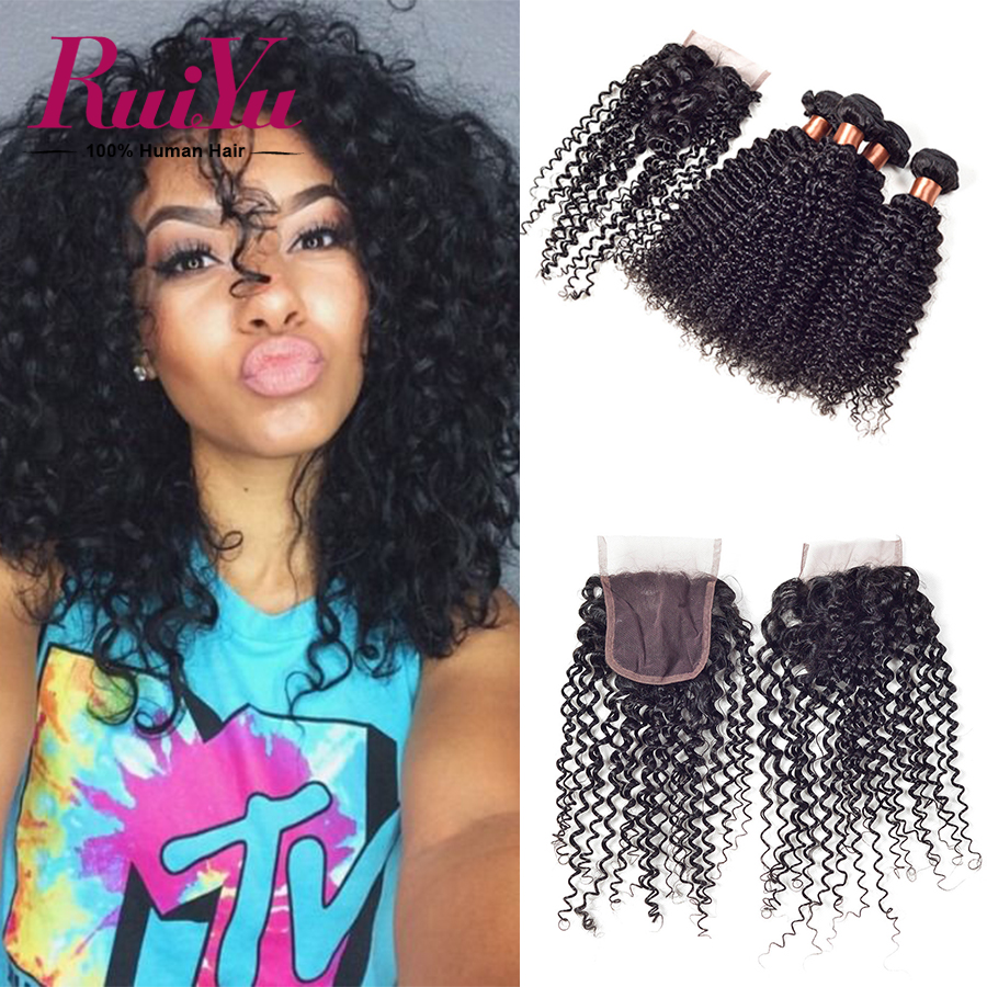 Grade 6A queen hair products  peruvian virgin hair kinky curly  with closure,peruvian lace closure 10