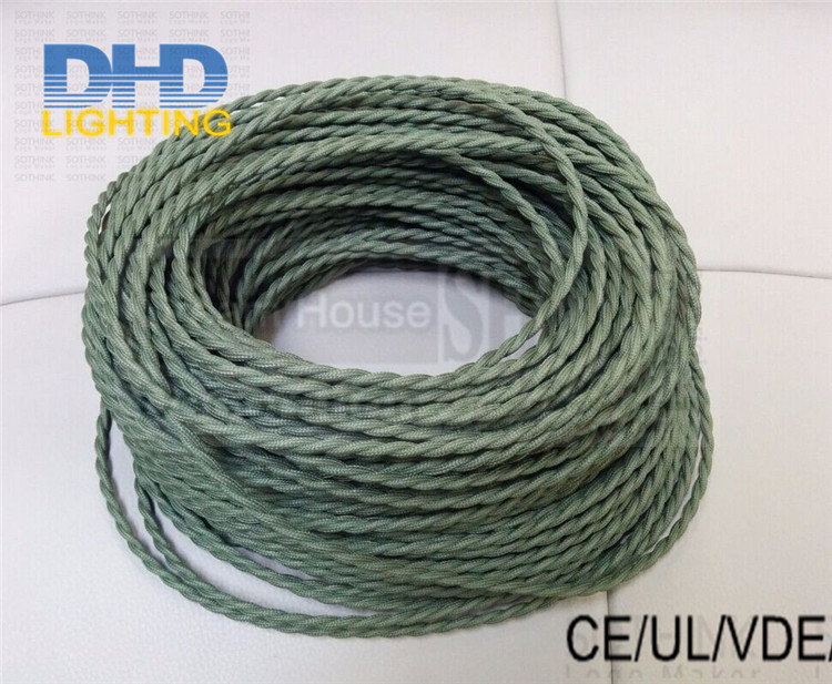 8m/lot 2 cores*0.75mm Vintage Fabric Electrical Cable braided Retro Electric Wire For LED Pendant Light Olive green Lamp Cord(China (Mainland))