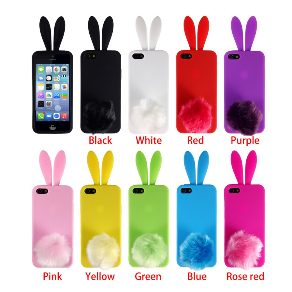 Hot Promotions High Quality Silicone Rubber Bunny Rabbit Back 3D Phone Skin Case Cover for iPhone 4 4s 5 5s(China (Mainland))