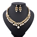 2015 New Gold Plated Crystal Imitate Pearl Bridal Wedding Necklace Earrings Party Vintage Elegant Jewelry Sets