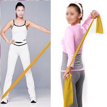 hot sale! Yellow 1.5m Yoga Pilates Rubber Stretch Resistance Exercise Fitness Band