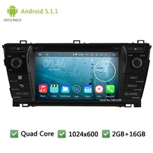 Quad core WIFI FM Android 5.1.1 2Din 1024*600 RDS Car DVD Player Radio Stereo PC Audio Screen GPS For TOYOTA Corolla 2013-2015