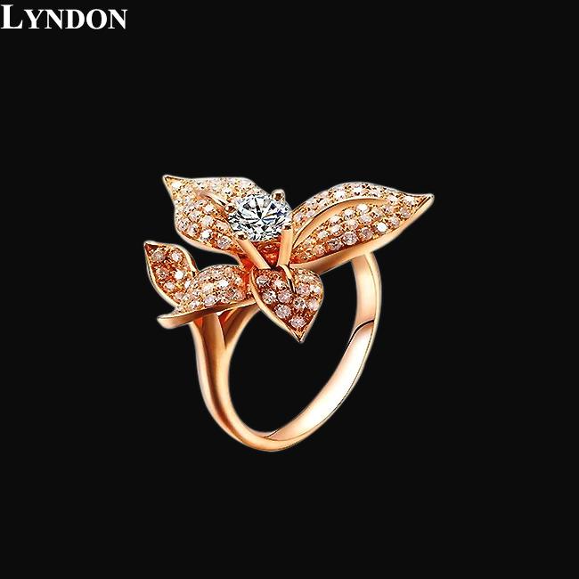 Bright Orchid Shape Jewelry Titanium Steel Vacuum Plating Rose Gold Inlay Swiss AAA Zircon and CZ Diamond Flowers Ring LR490031(China (Mainland))