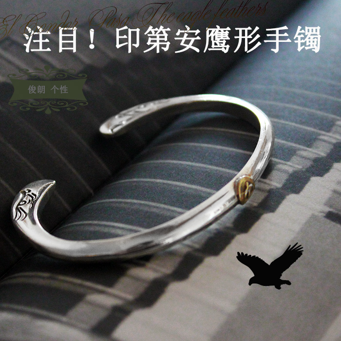 Buy hot Indian Style Silver Eagle shaped 925 Sterling Silver Bracelet men live silver special personality<br><br>Aliexpress