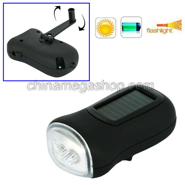 High Quality Solar & Dynamo Hand Roating LED Rechargeable Battery Flashlight with Retail Package(China (Mainland))
