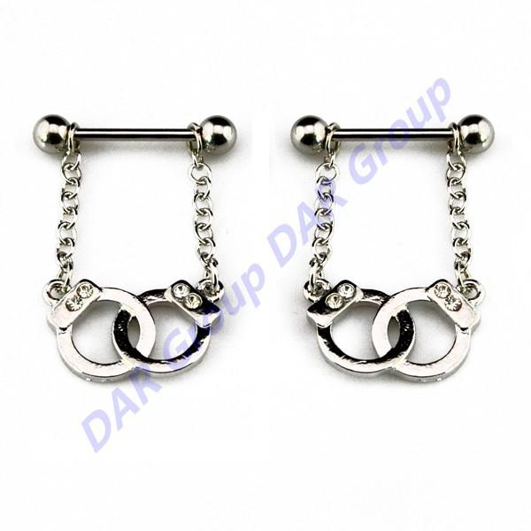 DAR 50pcs/lot New Arrival Handcuffs Dangling Nipple Barbell Body Piercing Jewelry Nipple Shield Ring<br><br>Aliexpress