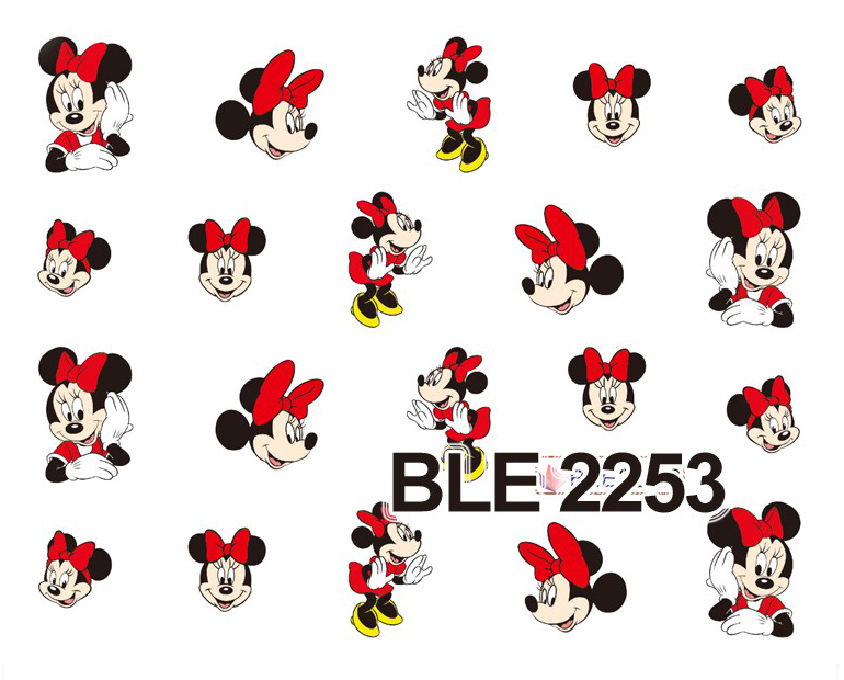 Nail Sticker 1 Sheet Red Cartoon Nail Art Water Transfer Sticker Decal Sticker For Nail Wraps BLE2253(China (Mainland))
