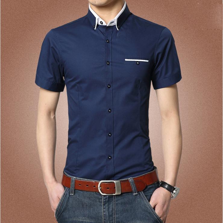 2015 new brand mens dress shirts short sleeve casual shirt for Boys slim fit dress shirt