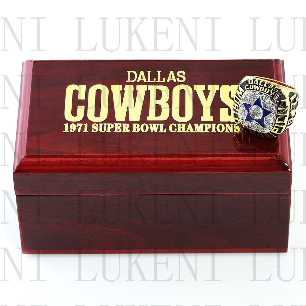 Replica 1971 Super Bowl VI Dallas Cowboys Championship Ring Football Rings With High Quality Wooden Box Best Gift LUKENI(China (Mainland))