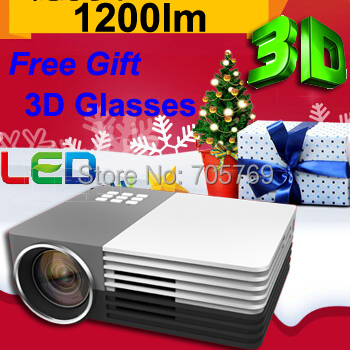 Free Gift 3D glasses,1200 Lumens Big Discount LED Mini LCD 1080P 3D Home Theater Projector HD Proyector Beamer Projetor(China (Mainland))