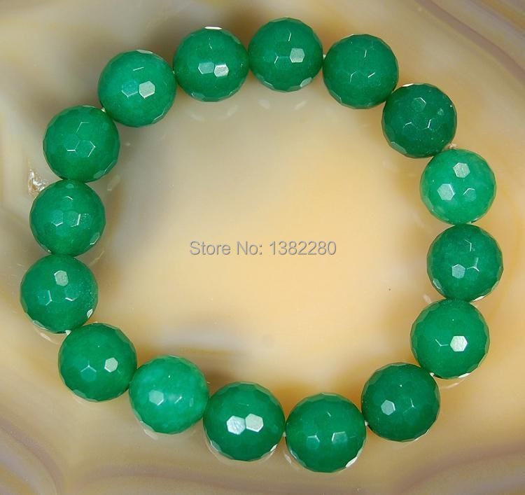 """Free shipping!Wholesale fashion DIY 10mm Faceted Green Emerald Round Beads Bracelet 7.5"""" 2 pieces / lot fashion jewelry JT5925(China (Mainland))"""