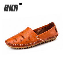 HKR 2016 spring women ballet flats women's genuine leather loafers shoes cutout flats sandals Slip-on ballerina flats 219-3(China (Mainland))