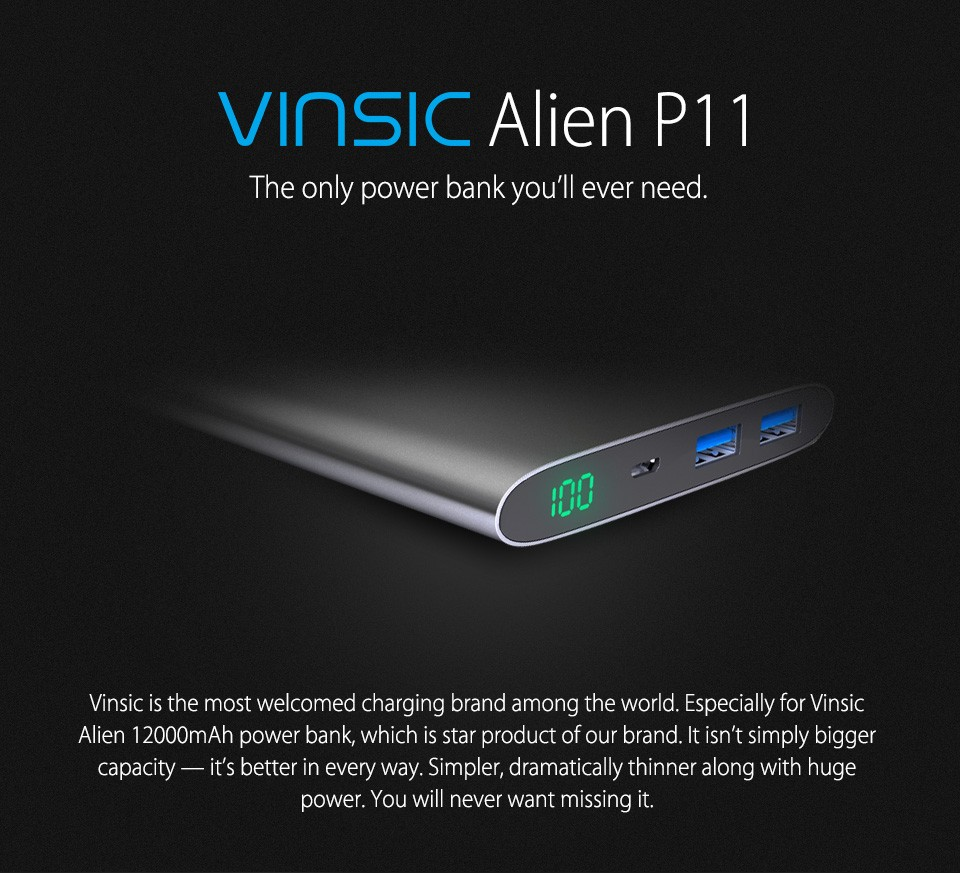 Vinsic Alien P11 Top Selling Series 12000mAh Ultra Slim Power Bank Dual Smart USB Port 5V 2.4A External Mobile Battery Charger
