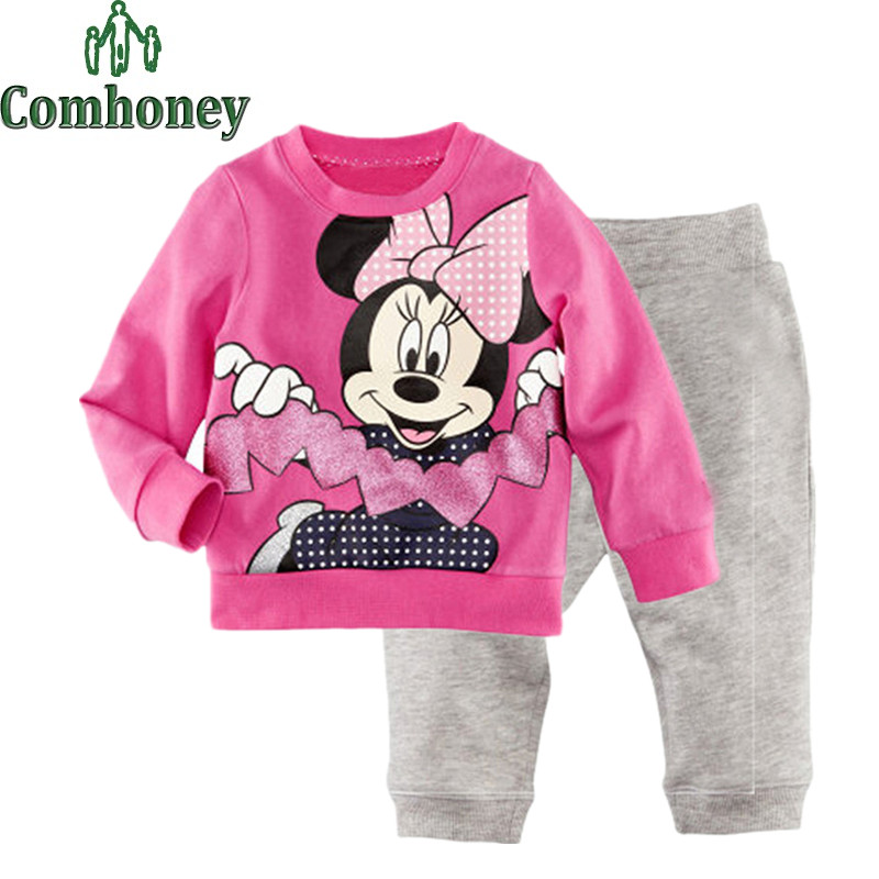 Minnie Mouse Pajama Sets for Girls Cotton Long Sleeve Kids Pajamas Sweet Pyjama Clothing Sets Children Spring Winter Sleepwear(China (Mainland))