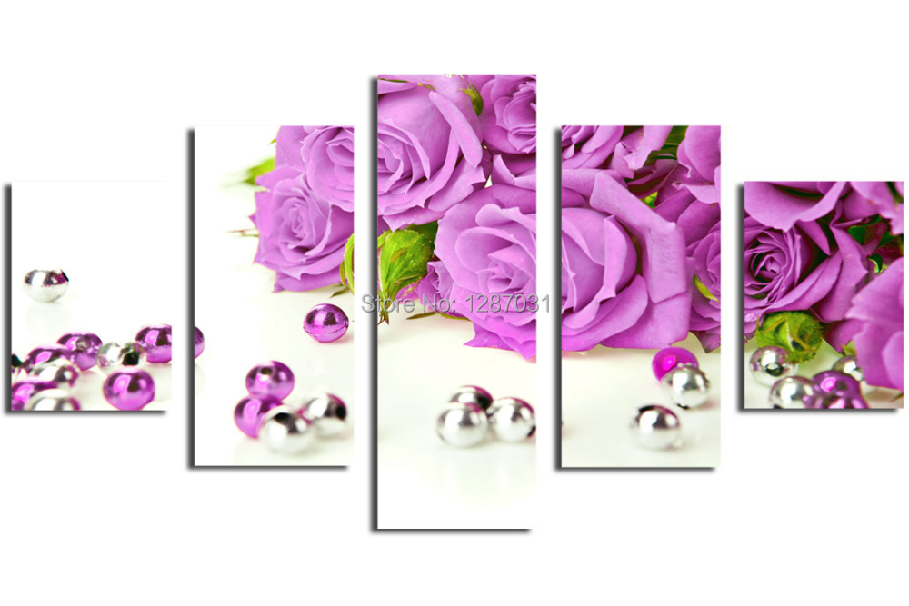 Purple roses, 5 Panels/Set Picture HD Canvas Print Painting Artwork, Wall decorative painting Gift(China (Mainland))