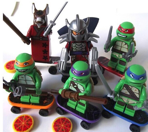 6pcs/Set TMNT Teenage Mutant Ninja Turtles Building Bricks Blocks Set Hero Figure Minifigures Learning Toy Compatible boys toys(China (Mainland))