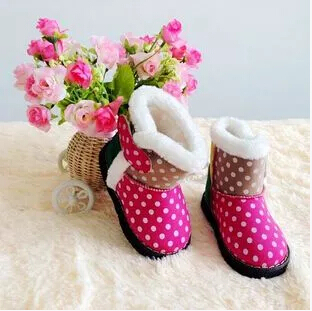 2014 NEW child dot snow boots girls waterproof princess boots  kids leather soft slip-resistant shoes <br><br>Aliexpress