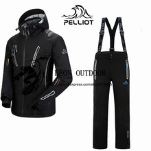 DHL FREE SHIPPING!2015 new Pelliot male ski suits jacket+pants Men waterproof,breathable thermal cottom-padded super warm High-Q(China (Mainland))