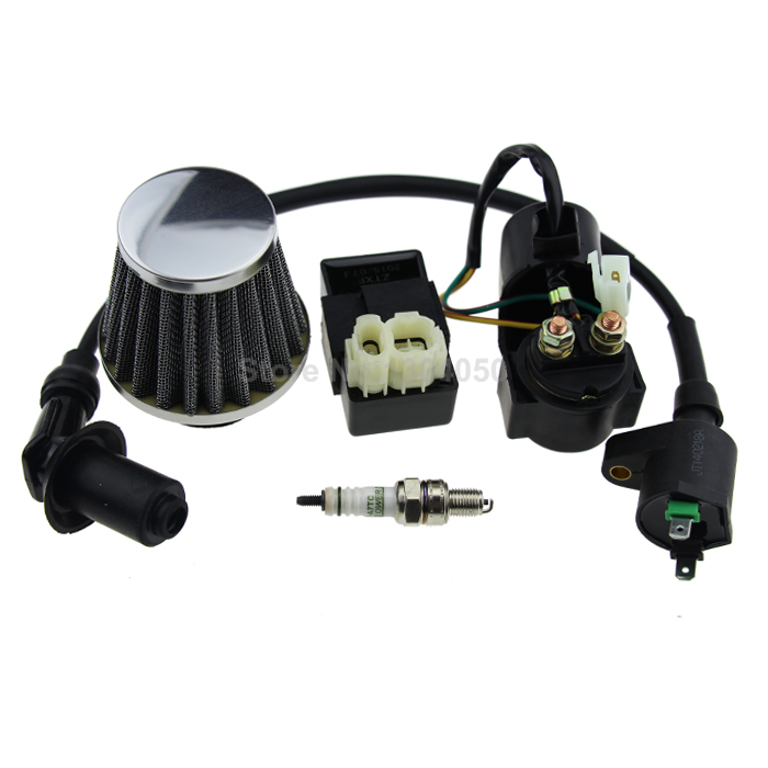 38mm Air Filter Performance CDI Ignition Coil Starter Relay Solenoid A7TC Spark Plug For font b