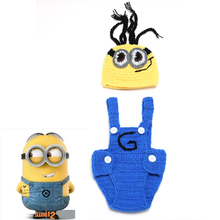 Crochet Baby Despicable Me Hat&Suspender Pants Set  Knitted Baby Photo Props Outfits Newborn Crochet Beanie 1set MZS-14027(China (Mainland))