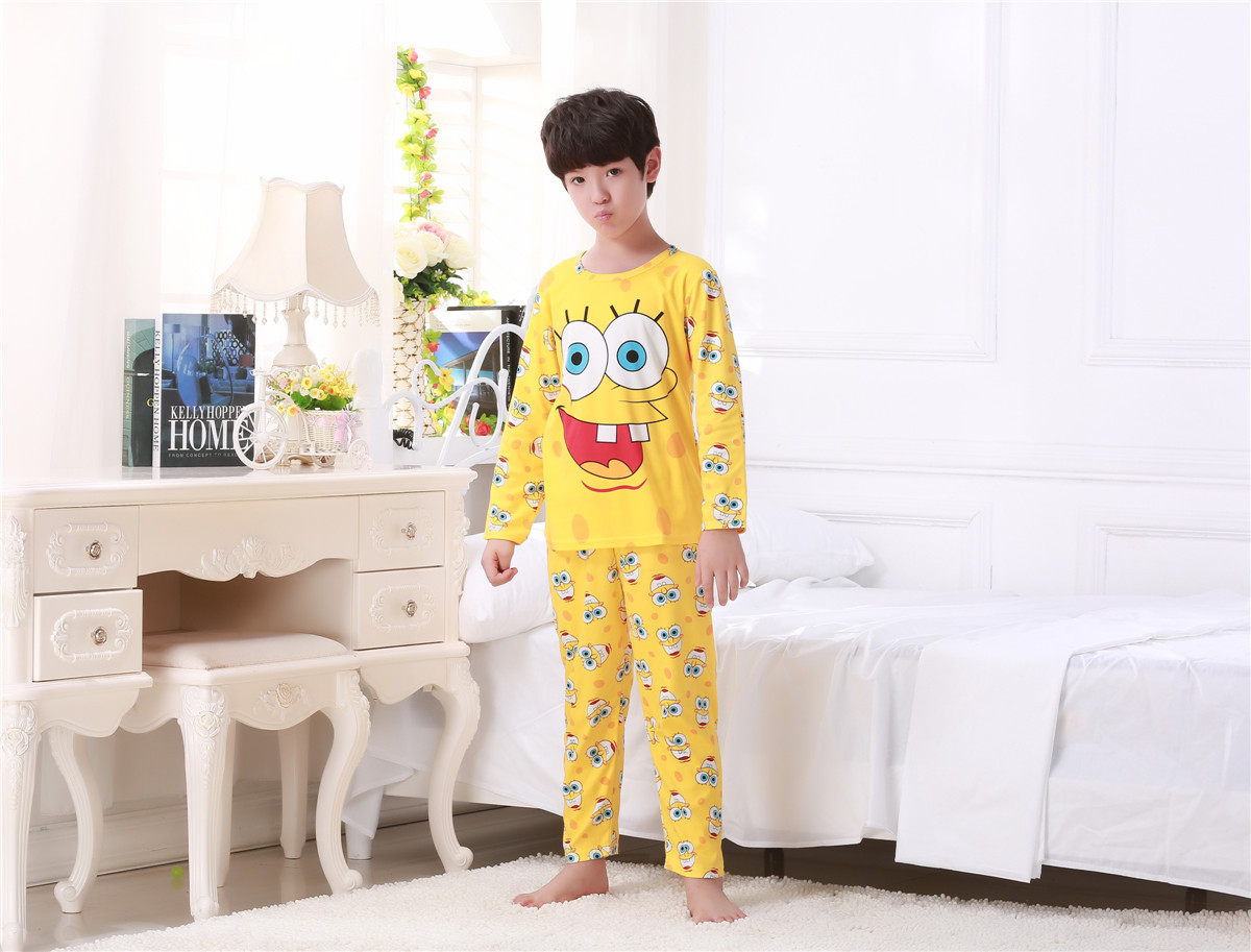 Children sleepwear boys pajamas sets girls 2016 spring and autumn baby Cartoon long sleeve Homewear clothes Kids sleeper Suit