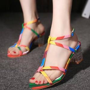 2015-New-Summer-Gladiator-Sandals-Women-Rainbow-Colors-Cross-tied-Open-Toe-Flip-Flops-Narrow-Band (1)